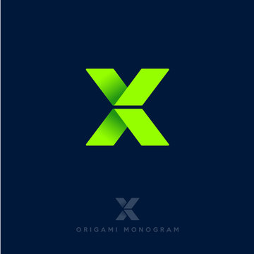 X logo. X origami letter. Origami arrows emblem. Delivery or construction logo.
