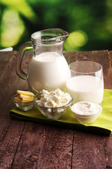 Foto op Textielframe Zuivelproducten milk products. tasty healthy dairy products on a table