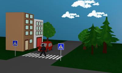 Straßenbild mit einem Fußgänger der eine Straße überquert. Seitenansicht.