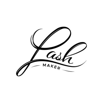 Lash maker logo. The element of the corporate style of salon eyelash extensions. Style with a stylized hand-drawn lettering, calligraphy.