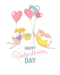 Funny cute gey women characters flying by heart balloons to congratulate each other with Happy Valentine's Day. Flat line design style. Vector illustration.