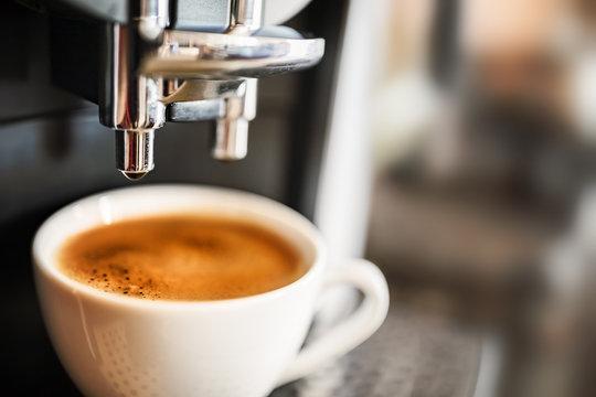 Espresso machine making fresh coffee