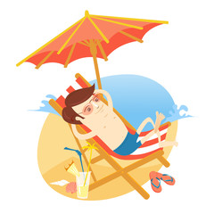 Vector illustration Funny man sunbathing on the beach with cocktail. Summer vacations at the sea. Flat style