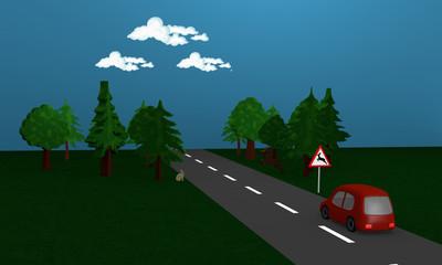Landstraße mit Wald, Reh Hase und Auto