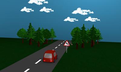 Landstraße an dem das Verkehrszeichen Wildwechsel vor einem Wald steht