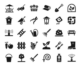 Landscape design, icons, monochrome, vector. Arrangement of land. Equipment for horticulture. Dark grey, flat icons on white background.
