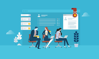 Human resources. Flat design business people concept for career, job search, employment, professional skill. Vector illustration concept for web banner, business presentation, advertising material.