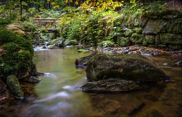 Fluss Wasser Brücke Bach Langzeitbelichtung Natur