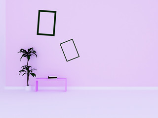table, a plant and the pictures in the room, 3d rendering