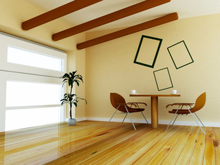modern chair in the room, 3d rendering