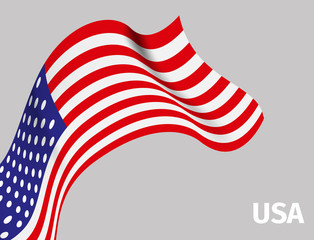 Background with USA wavy flag