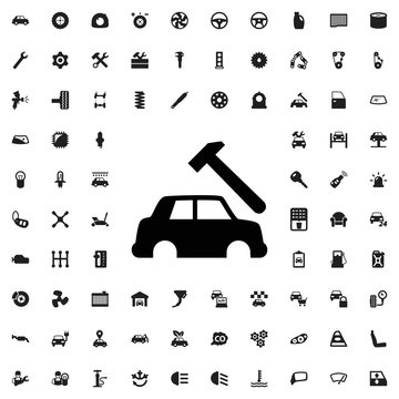 Car body repair icon. set of filled car service icons.