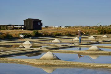 Paludier travaillant dans un marais salant sur l'île de Noirmoutier, Vendée, France