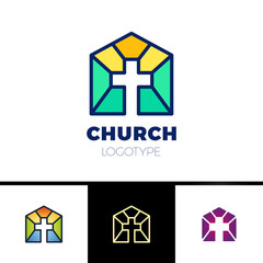 Home Church Logo. House Bible logotype. Calvary cross silhouette orange gradient