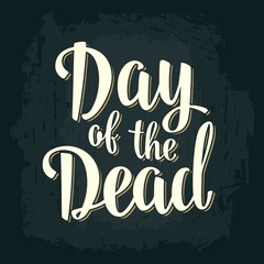 Day of the Dead vintage vector white lettering on dark background.