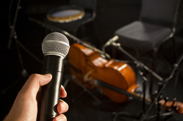 Audio microphone and blur musical instrument background