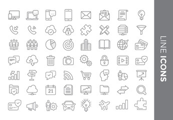 56 Line Art Icon Set 1