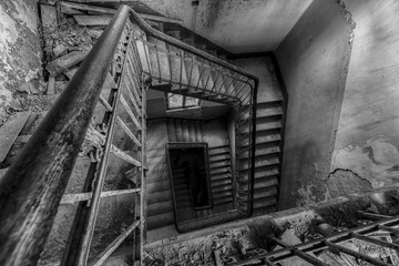 decay staircase with railing