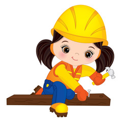 Vector Cute Little Girl Builder Hammering Nails