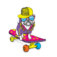 Funny pug on a skateboard. Vector illustration. Pedigree dog. Puppy wearing a cap and headphones.