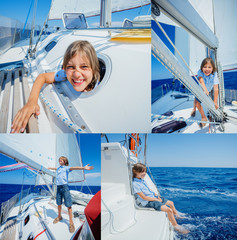 Collage of Little boy on board of sailing yacht on summer cruise. Travel adventure, yachting with child on family vacation.