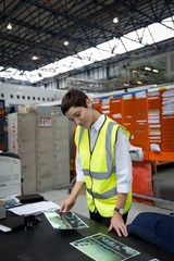 Female aircraft maintenance engineer working