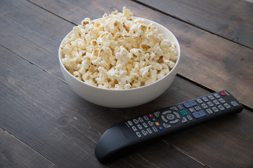 popcorn and remote controler