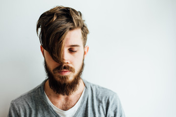 Portrait of Bearded Man With Messy Hairstyle