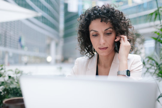 Businesswoman working with laptop Working on Laptop Computer
