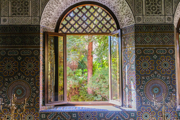 View from the window in an ornately mosaic tiled Moroccan building