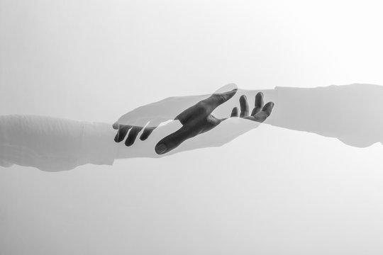 Double exposure of hands