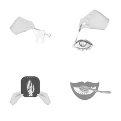 Examination of the tooth, instillation of the eye and other web icon in monochrome style. A snapshot of the hand, teeth cleaning icons in set collection.