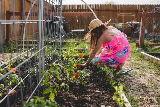 Child helper in the garden
