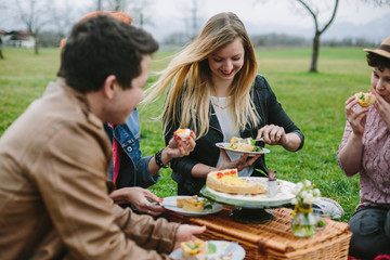 group of friends having fun and a  picnic outdoors