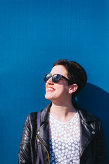 Portrait of beautiful woman with sunglasses
