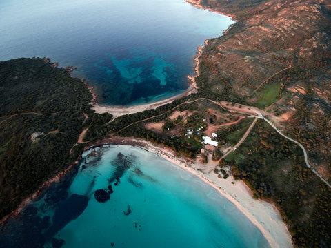 Aerial view of Rondinara beach at sunrise