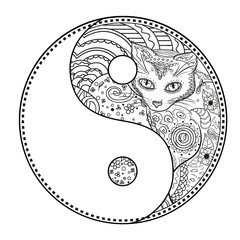 Yin and Yang. Zentangle. Hand drawn mandala with cat on isolation background. Design for spiritual relaxation for adults. Line art creation. Black and white illustration for coloring. Zen art