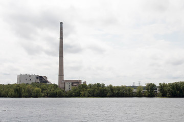 Smoke stack of a power plant on the Saint Croix river in Minnesota