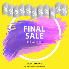 Abstract Brush Stroke Designs Final Sale. Final Sale banner. Watercolor sale and discount labels.