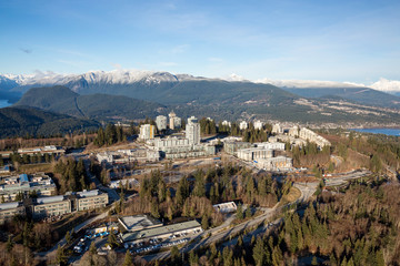 Aerial view of Simon Fraser University (SFU) on Burnaby Mountain. Picture taken in Vancouver Lower Mainland, British Columbia, Canada.