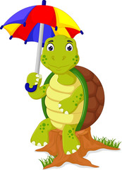 funny turtle cartoon sitting on tree and bring umbrella with smile