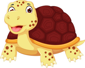 cute turtle cartoon posing with smile