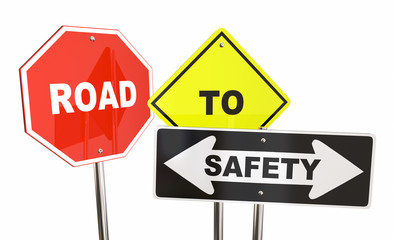Road to Safety Stop Caution Warning Signs 3d Illustration Wall mural