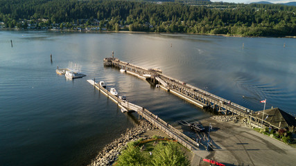 Aerial view on a wooden quay at Rocky Point Spray Park, Port Moody, Greater Vancouver, BC, Canada.