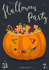 Vintage Halloween party banner with scary pumpkin head jack full of sweet candies, isolated cartoon vector illustration on blue background. Trick or treat concept. Happy Halloween design template