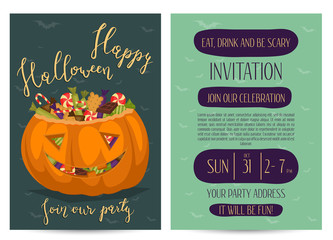 Vintage Halloween party invitations with scary pumpkin head jack full of sweet candies, isolated cartoon vector illustration on blue background. Trick or treat concept. Happy Halloween design template
