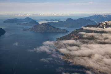 Islands in Howe Sound, taken North of Vancouver, BC, Canada, during an early spring morning.