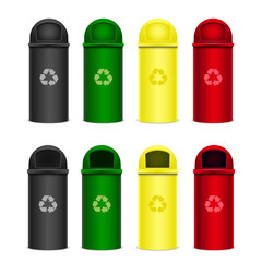 Set of recycle bins for trash or garbage. Vector icons