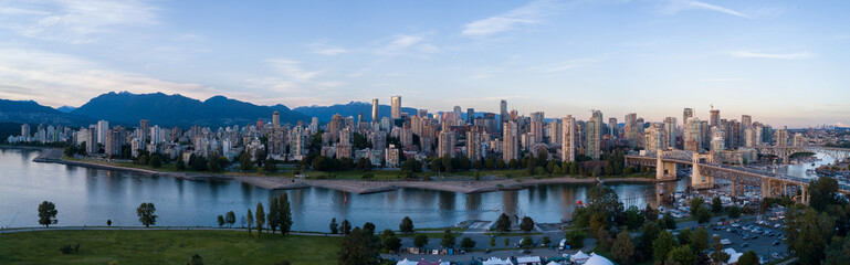 Recess Fitting Canada Aerial Panoramic Downtown City Skyline of Vancouver, British Columbia, Canada. Taken during bright sunny sunset.