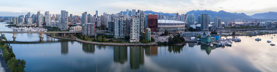 Panoramic City Skyline View of Downtown Vancouver around False Creek area from an Aerial Perspective. Taken in British Columbia, Canada, durin a colorful sunrise. Wall mural